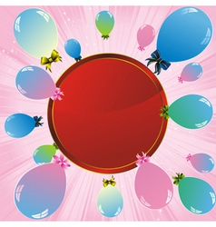 balloons label pink vector image