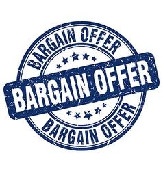 Bargain offer blue grunge round vintage rubber vector