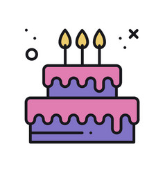 Birthday cake with candles pie dessert sign and vector