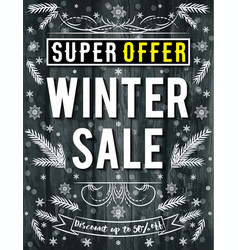 black christmas poster with snowflakes and sale vector image