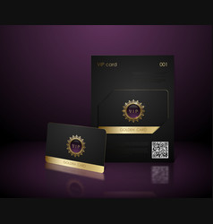 Black vip card presentation with golden vector