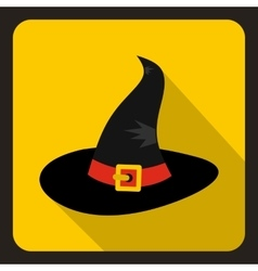Black witch icon flat style vector image