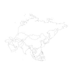Blank political outline map of asia continent vector