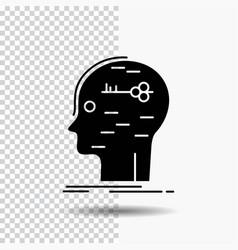 Brain hack hacking key mind glyph icon on vector