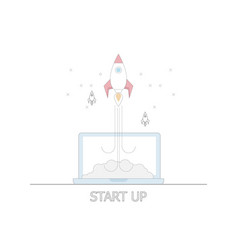 business startup concept rocket launch from laptop vector image
