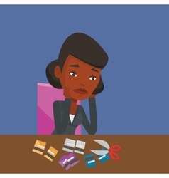 Business woman bankrupt cutting her credit card vector