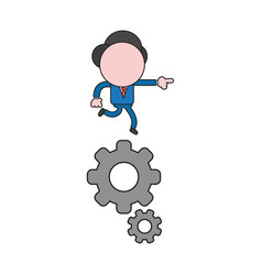 Businessman character running on gears color and vector
