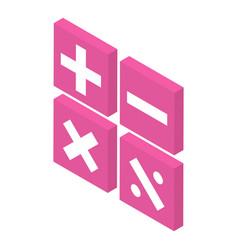 Calculator operation icon isometric style vector