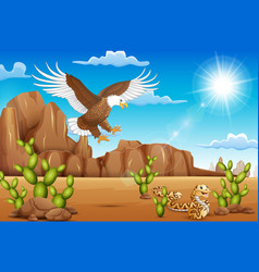 Cartoon eagle bird and snake living in the desert vector