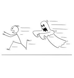 Cartoon frightened man running away from ghost vector