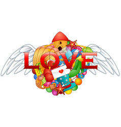 Cartoon hand drawn doodles love heart with angel w vector