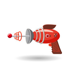 Cartoon retro space blaster ray gun laser weapon vector