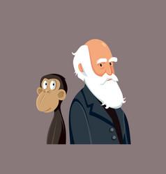Charles darwin funny cartoon vector