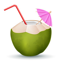 coconut cocktail with straw and umbrella on white vector image