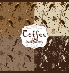 Collection of four seamless coffee patterns brown vector