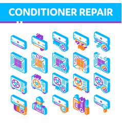 Conditioner repair isometric icons set vector