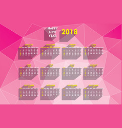 creative new year 2018 calendar design vector image