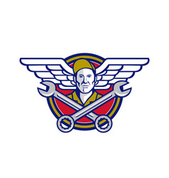 Crew chief crossed wrench army wings icon vector