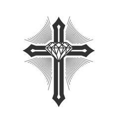 Cross jesus is diamond and center vector