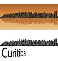 Curitiba skyline in orange vector image