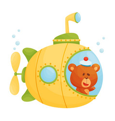 Cute bear looking out submarine window vector