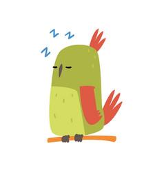 cute bird sleeping on perch funny birdie cartoon vector image