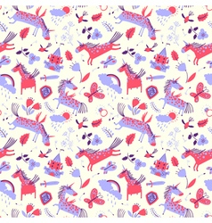 Cute seamless pattern with magic unicorns vector