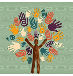 Diversity human tree hands vector image