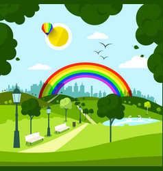 empty city park with rainbow on background vector image