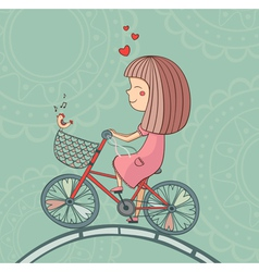 Enamored girl on bicycle vector