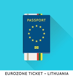 Eurozone europe passport with tickets air tickets vector