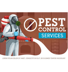 Exterminator spraying insecticide pest control vector