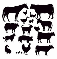 farm animals collection - silhouette vector image