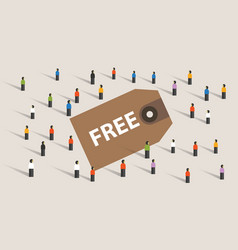Free discount voucher price tag crowd group of vector