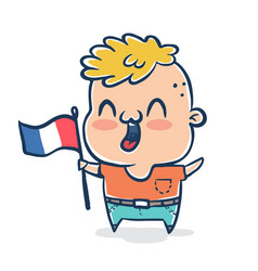 french boy with flag of france vector image