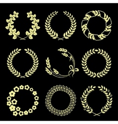 Golden wreaths isolated on black background vector image vector image