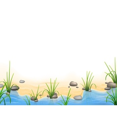 Grass and pebbles on a river bank vector