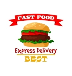 hamburger fast food burger emblem icon vector image