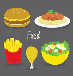 Hamburger french fries chicken spaghetti food vector
