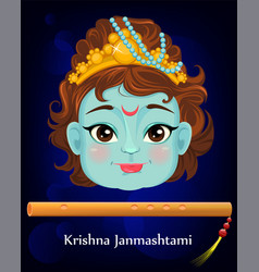 happy janmashtami celebrating birth of krishna vector image