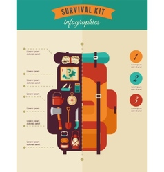 Hiking and camping concept - survival kit vector