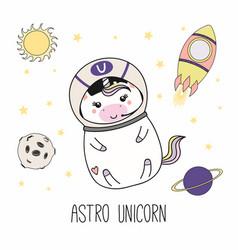 Kawaii unicorn astronaut vector