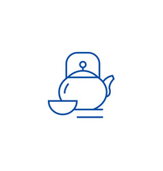 kettle and cuptea ceremony line icon concept vector image