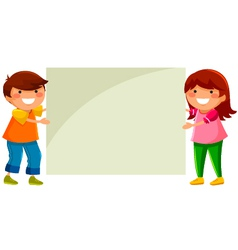 Kids with placard vector