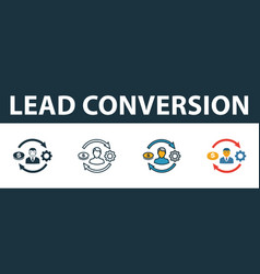 lead conversion icon set premium symbol in vector image