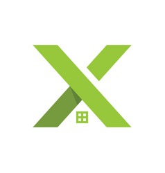 Letter x and house logo concept logo template vector
