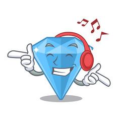 Listening music sapphire gem in a mascot box vector
