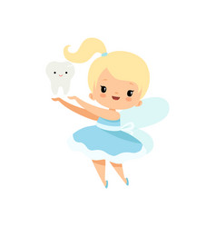 Little tooth fairy with batooth cute blonde vector