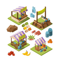 local farm isometric food marketplaces with meat vector image