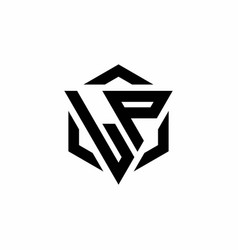 Lp logo monogram with triangle and hexagon modern vector